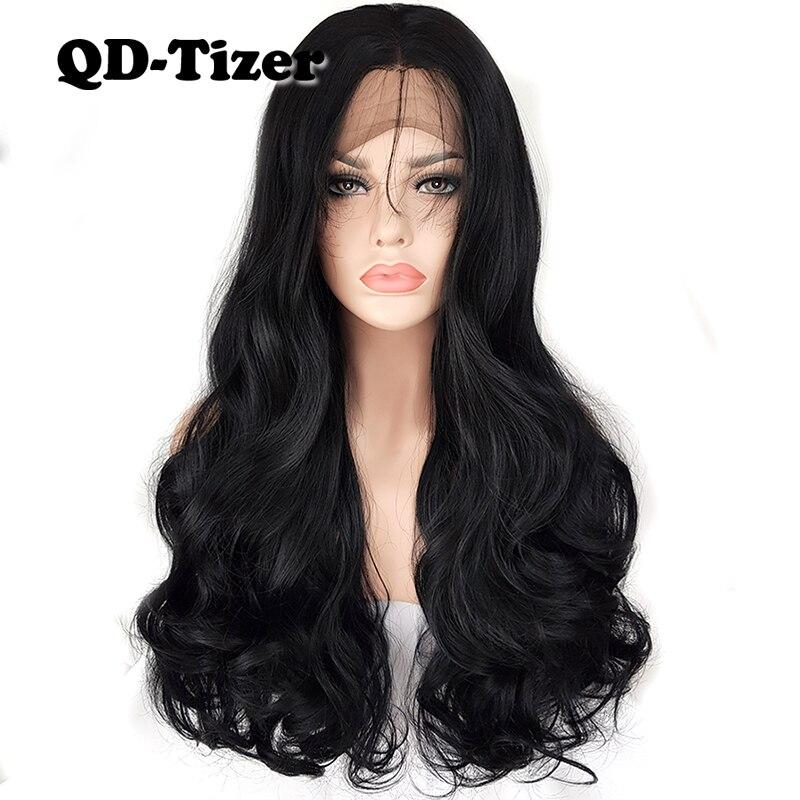 КТ-тизер длинное тело волны синтетический Синтетические волосы на кружеве парики Черный Цвет натуральных волос с ребенком волос парики шну...