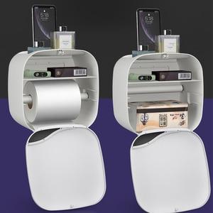 Image 5 - Wall Mount Toilet Paper Holder Shelf Tissue Box Waterproof Toilet Paper Tray Roll Paper Tube Bathroom Storage Box Organizer