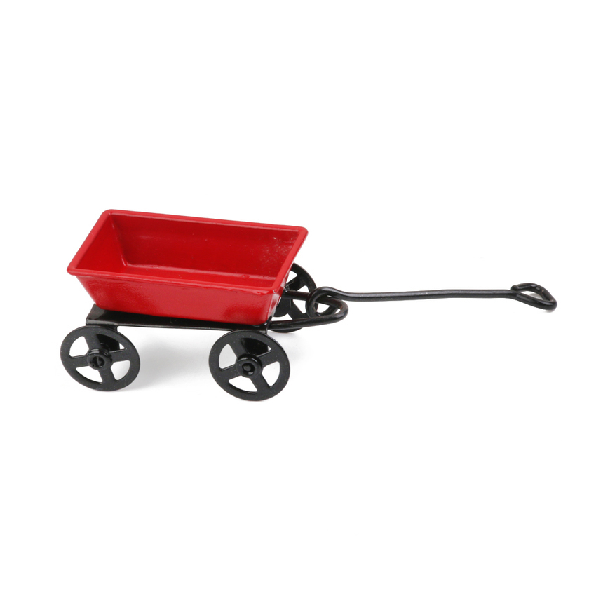 1 12 Red Garden Metal Cart Dollhouse Outdoor Miniature Toy in Furniture Toys from Toys Hobbies
