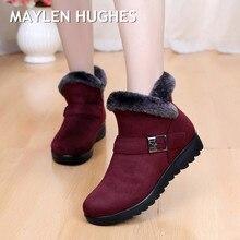 649fe3c40 Invierno mujeres botas nueva moda Flock Wedge plataforma negra caliente del invierno  nieve botas Zapatos madre