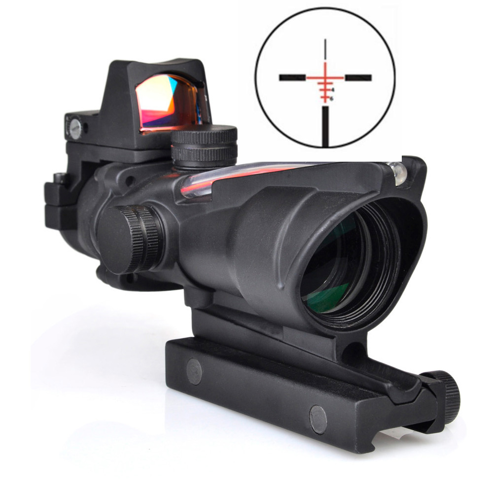 Tactical ACOG 4X32 Sight Scope Red Fiber Source Illuminated Rifle Scope with RMR Micro mini Red Dot tactical trijicon acog style 4x32 real fiber optics red illuminated crosshair scope w rmr micro red dot hunting riflescopes