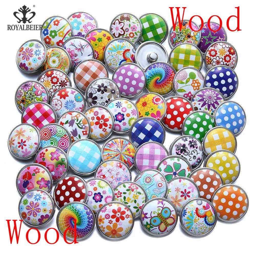 50 шт./лот, смешанный металл и стекло, 18 мм, кнопки, ювелирное изделие, сделай сам, стразы, кнопки, подвески для кнопки сделай сам, браслет, ювелирное изделие - Окраска металла: Mixed Wood Series