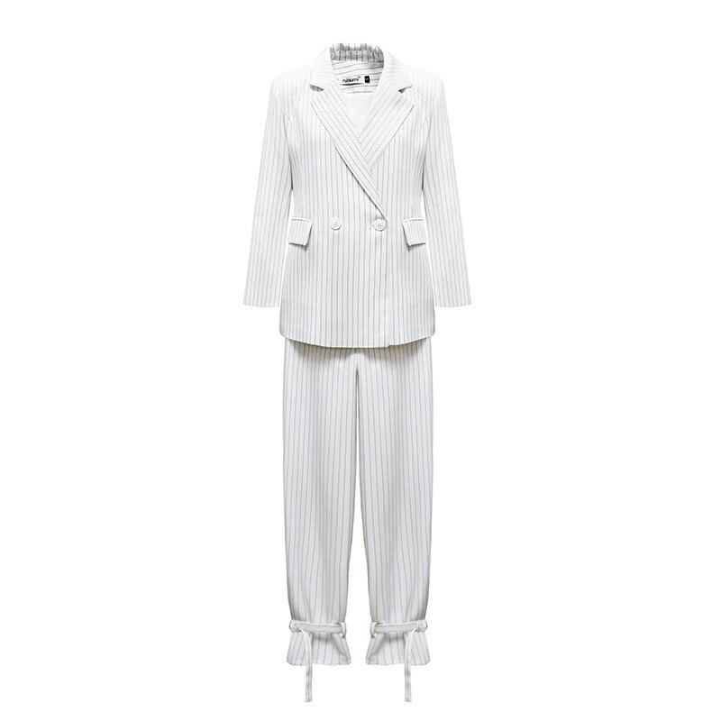 Ensembles Mode 2 Pièce Ab365 Rayé Nouvelle Blanc Wrap Bureau Entaillé 2019 Crayon Tenues Costumes Femmes Blazer Original Travail Printemps Pantalons Pantalon qYXn0CxnZ