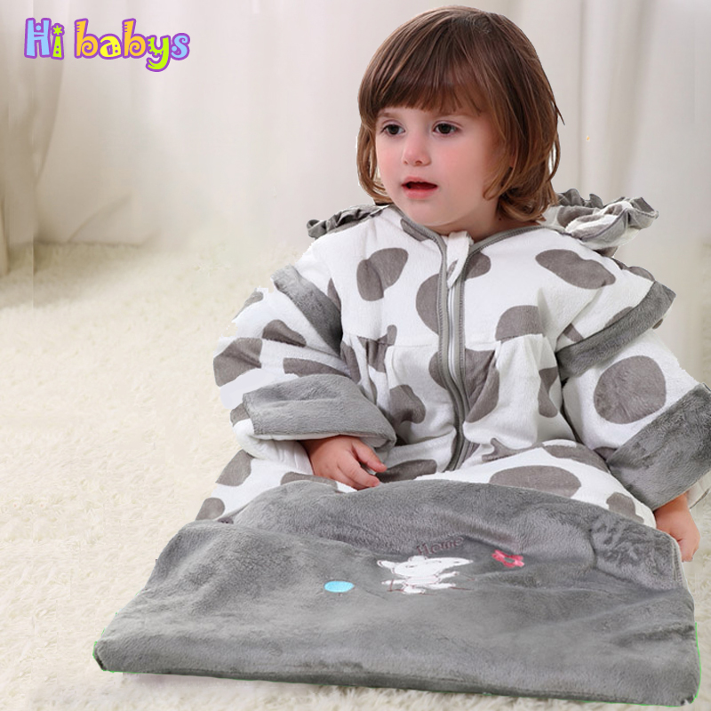Flannel sleeping bag Winter Strollers Bed Swaddle thicken <font><b>Blanket</b></font> cotton Wrap cute Bedding sack <font><b>baby</b></font> sleeping bag kids slaapzak