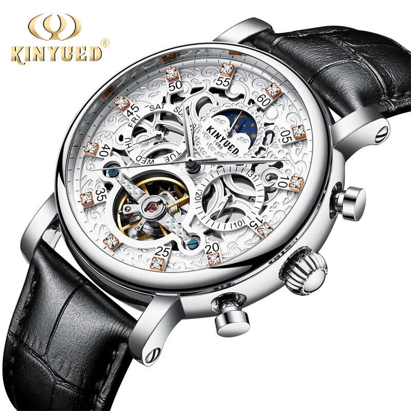Squelette automatique montre hommes soleil lune Phase étanche hommes Tourbillon montres mécaniques haut de gamme montres de luxe KINYUED
