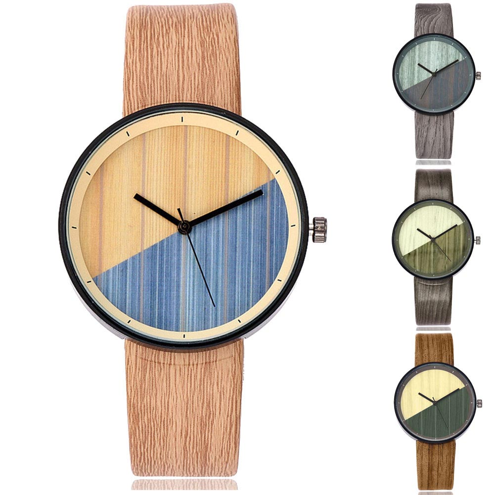 Stainless Steel Dial Leather Watch Women Wood Texture Watch Imitation Wooden Vintage Leather Quartz Watch AIC88