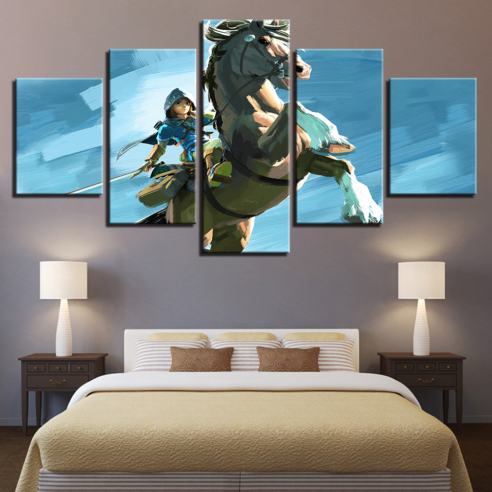 Legend Of Zelda Wall Art.Us 5 72 40 Off Modular Vintage Game Pictures Home Decor Paintings On Canvas 5 Panel Legend Of Zelda Wall Art For Living Room Hd Printed In Painting