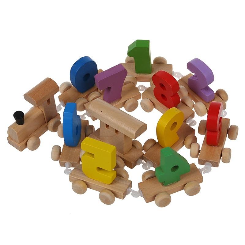 Digital Number Wooden Train Figures Railway Kids Wood Mini Toy Educational