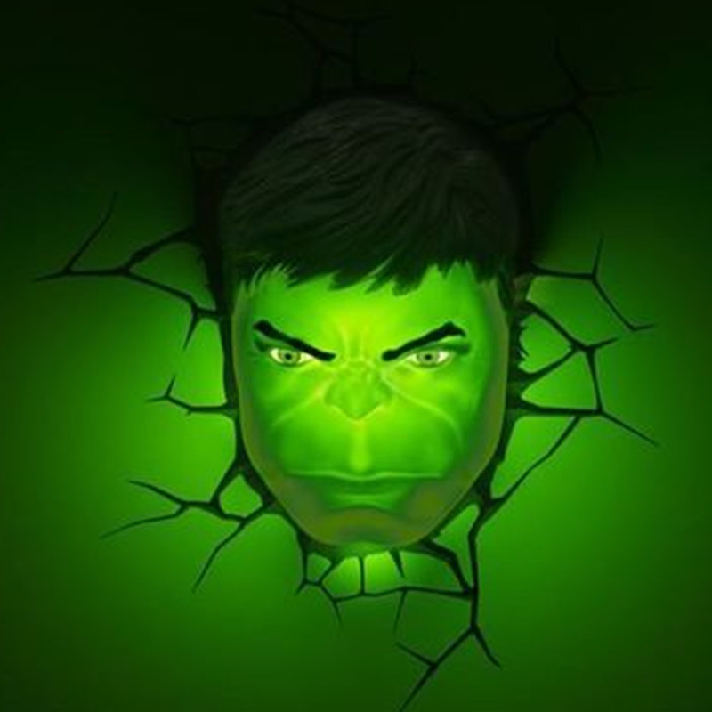 все цены на Avengers:Infinity War Superhero Hulk Mask With LED Light 3D Wall Lamp Plastic Wall Sticker Creative Room Decoration S584