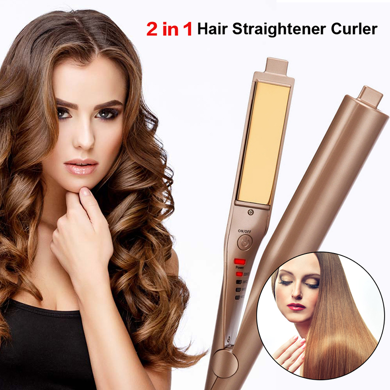 2018 Hot Selling Hair Curler Iron gold-plated 2 in 1 Hair Straightening and Curling Irons Hair Styling Tools цена