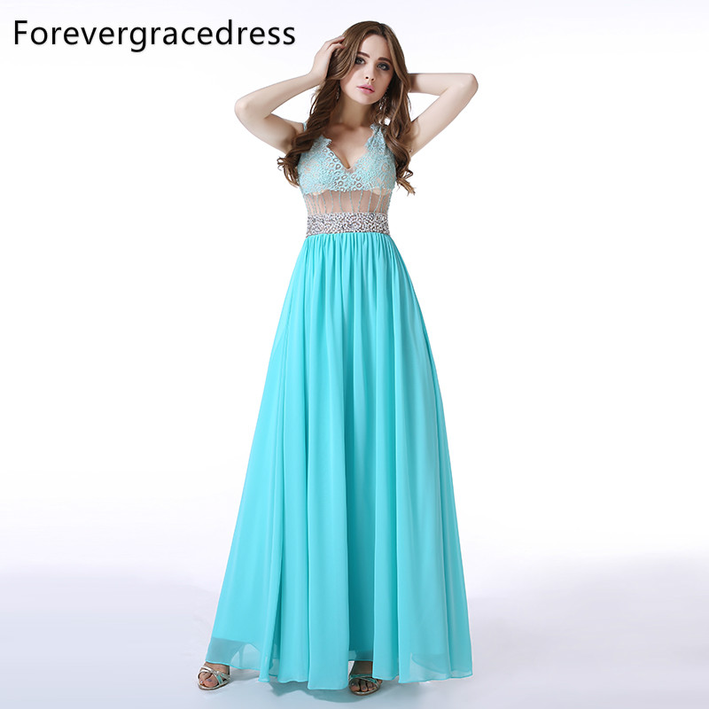 Forevergracedress Actual Pictures A Line   Evening     Dress   Cheap Sheer Sleeveless Crystals Lace Long Formal Party Gown Plus Size