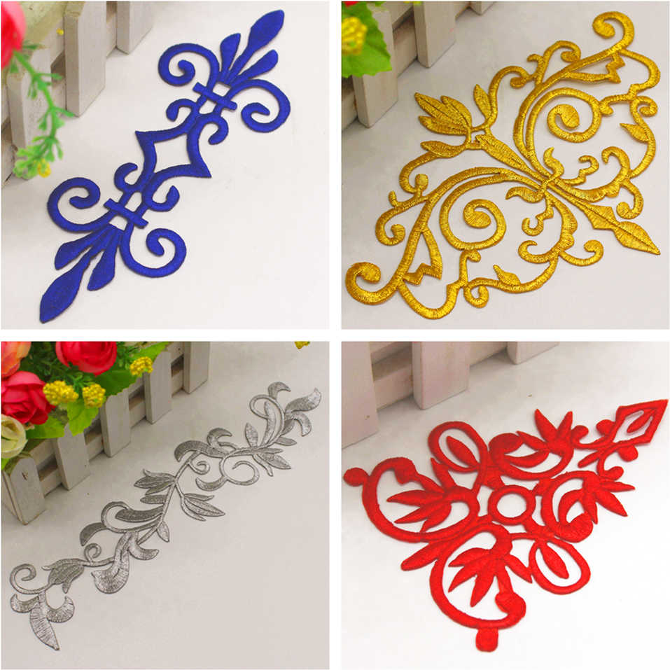 Iron On Appliques 3D Flower Patches Party Secoration Gold Embroidery Vintage Metallic Cosplay Costumes Diy Trims