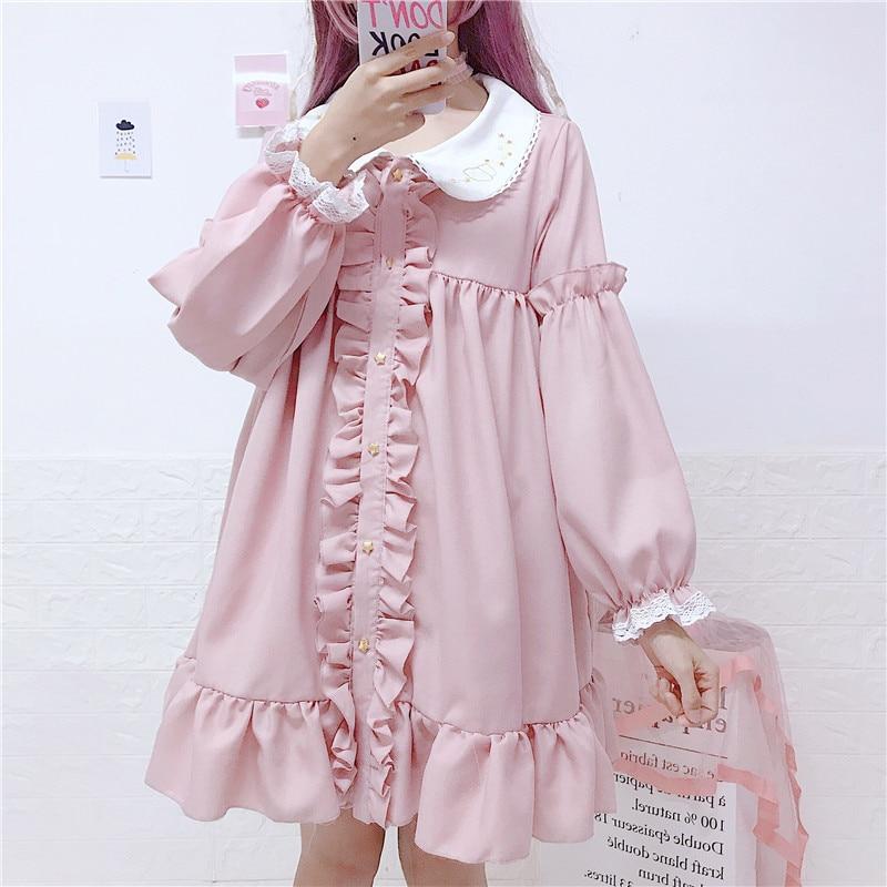 eb01040cf Vestido de lolita mori niñas otoño primavera estilo japonés fresco y dulce  manga larga cuello ...