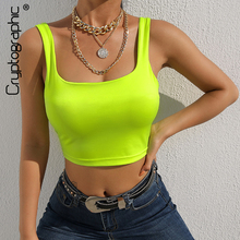 Cryptographic square collar neon green summer tank top sexy sleeveless crop tops for women fashion streetwear vest slim short