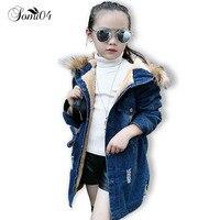 Fashion Girls Denim Coat 2018 Thick Velvet Kids Girls Jackets 3 4 5 6 7 9