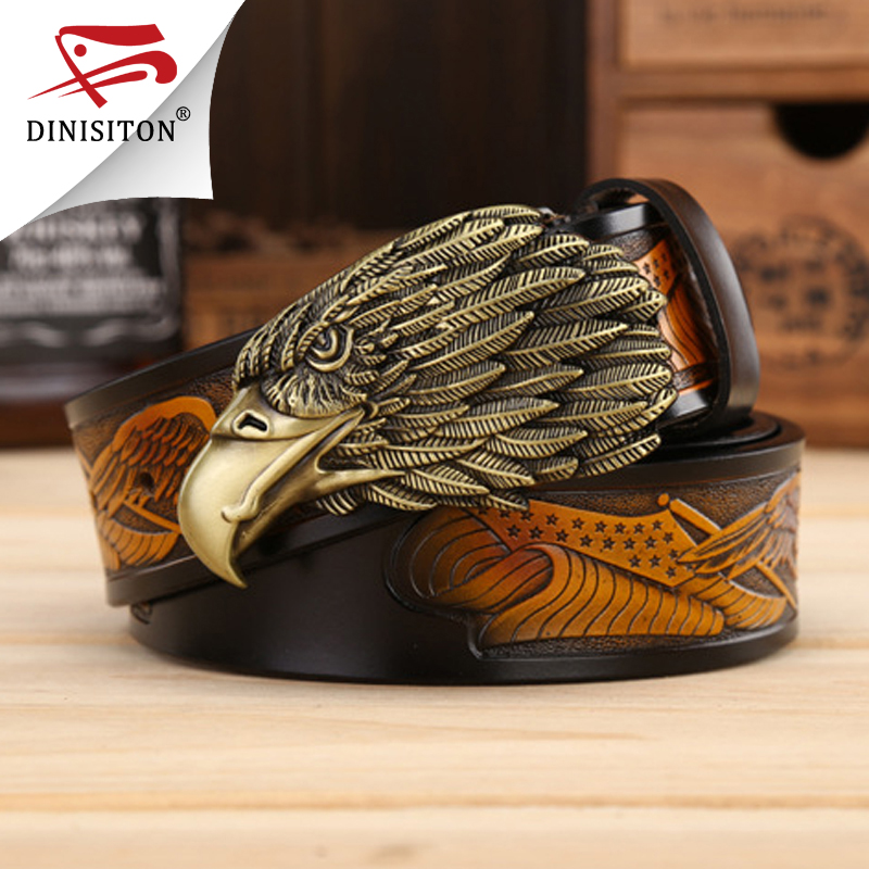 DINISITON Eagle head man belt Pierwsza warstwa Genuine Leather Men pasy Marka Cowskin Fashion Vintage Pasek męski Ceinture ZPB01