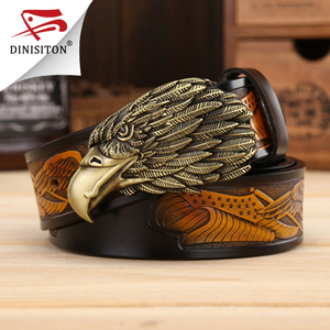 Image 1 - DINISITON Eagle head man belt The First Layer Genuine Leather Men belts Brand Cowskin Fashion Vintage Male Strap Ceinture ZPB01