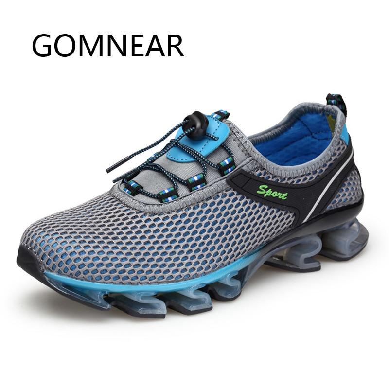 GOMNEAR Zapatillas de running súper ligeras para hombre Zapatillas de deporte transpirables de malla azul para exteriores Amortiguación Zapatillas deportivas deportivas Gym Athletic
