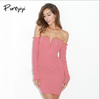 Pureyiyi 2017 Autumn Dress Sexy Off Shoulder Long Sleeve V Neck Bodycon Party Dress Women Stripe