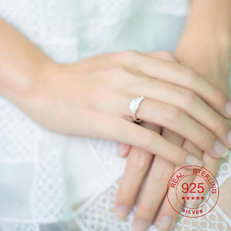 Smjel 100% Sterling Silver Trendi Terbuka Daun Cincin untuk Wanita Sederhana BoHo Tanaman Meninggalkan Femme BoHo Perhiasan Hadiah Ulang Tahun