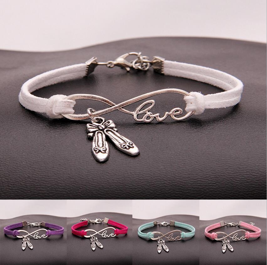 10pcs/lot Infinity Love 8 DANCE Shoes/ballet Shoes Pendant Bracelets Charm Women/Men Simple Bracelets/Bangles Jewelry Gift N23