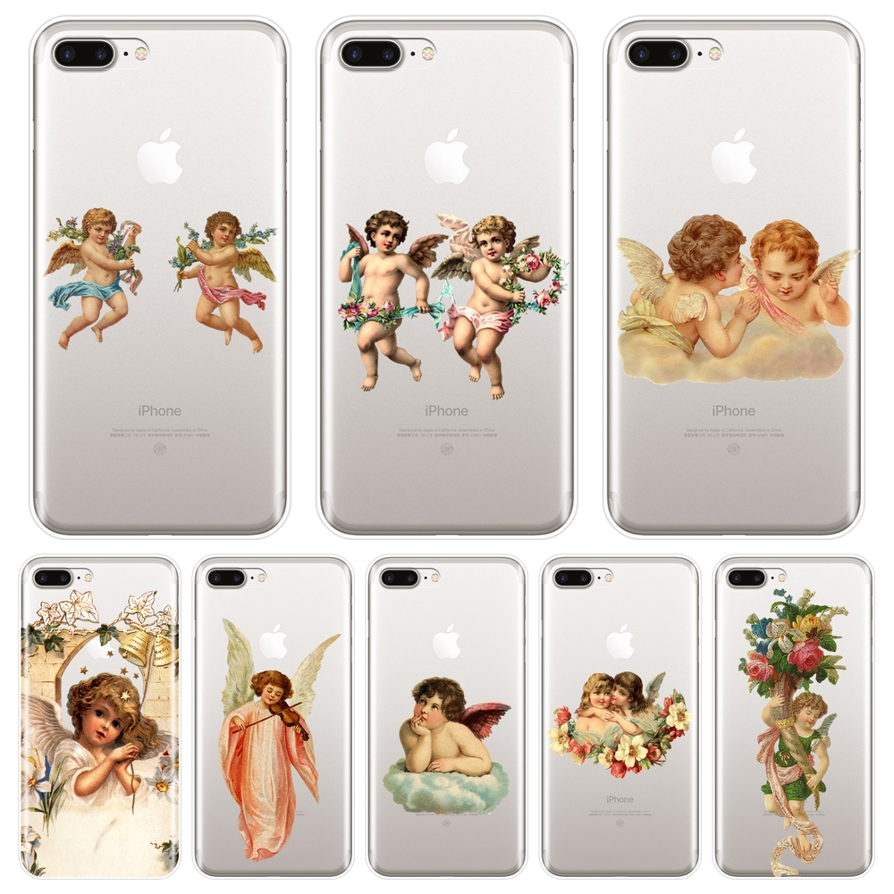 Soft Silicone Phone <font><b>Case</b></font> For Apple <font><b>iPhone</b></font> 6 S 6S 7 8 X XR XS Max Boy Girl Angel Baby Back Cover For <font><b>iPhone</b></font> 6 S 6S 7 8 Plus <font><b>Case</b></font> image