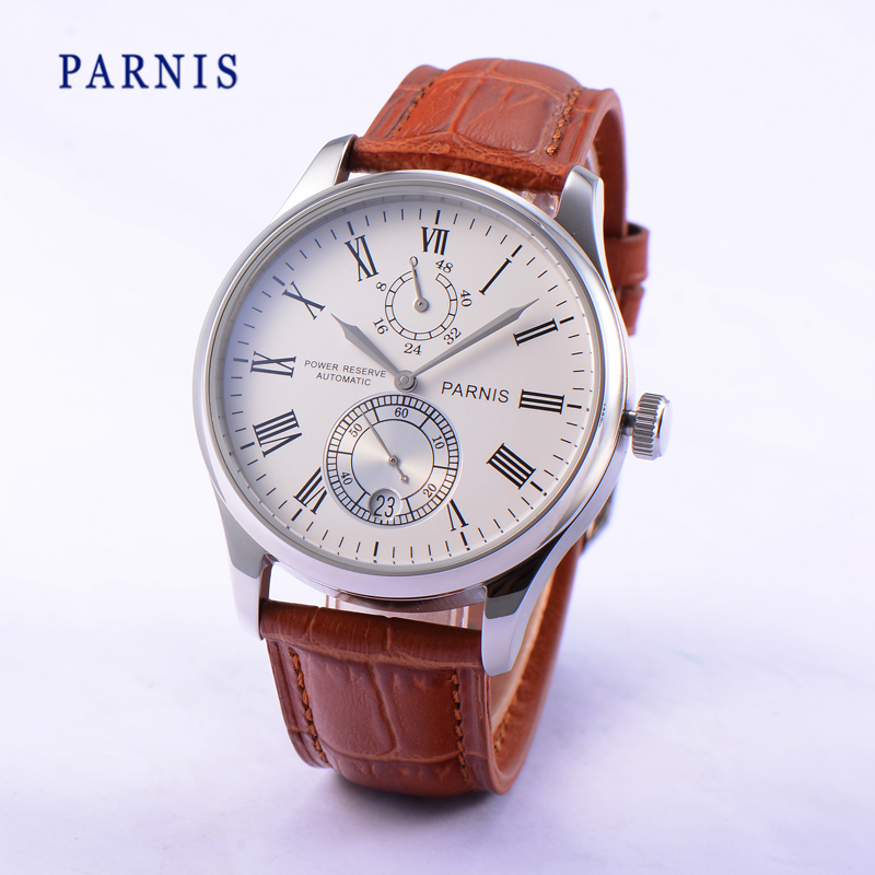 42mm Parnis Seagull 2542 Movement Automatic Power Reserve Men s Watch White Dial with Silver Hands