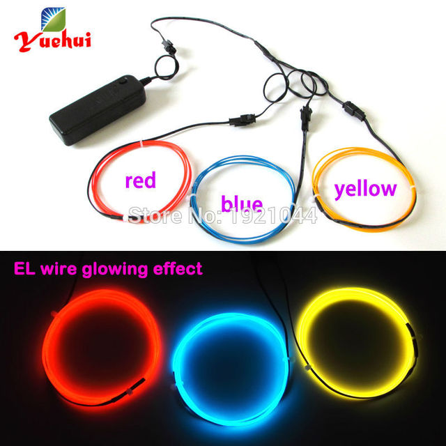 Hot sales With toys/craft party decoration 1.3mm 1Meter 3pieces electroluminescent wire flexible neon glow light thread light