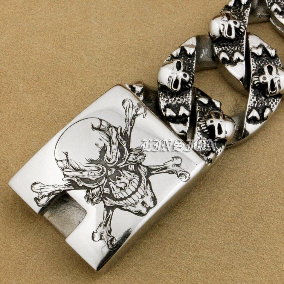 Énorme crâne de Pirate gravé au Laser profond en acier inoxydable 316L pour hommes-in Bracelets ficelle et chaîne from Bijoux et Accessoires    3