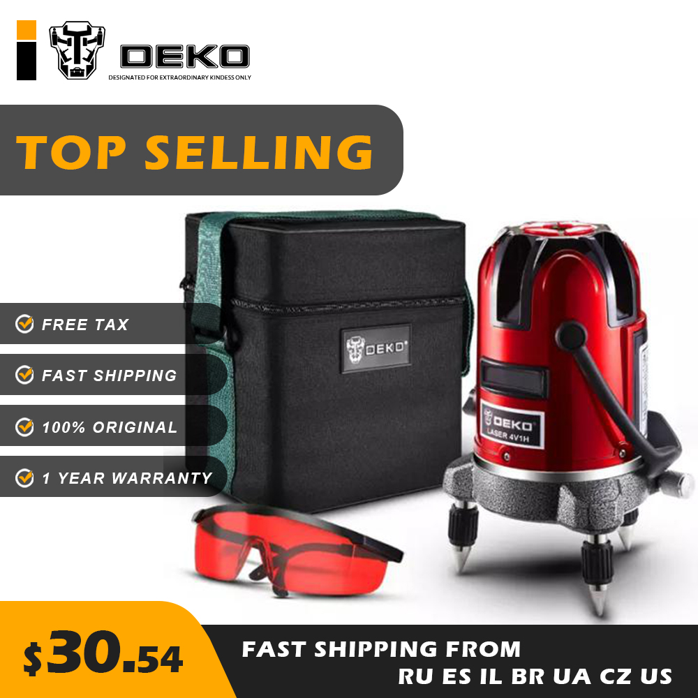 DEKO LL5 Series 5 Line 6 Points Red Laser Level Horizontal Vertical 360 Intelligent Adjustment 100