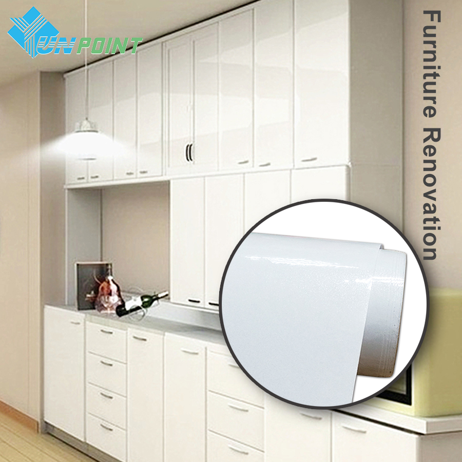 60cmx5m white glossy stickers muraux diy decorative film for Kitchen colors with white cabinets with yosemite sticker