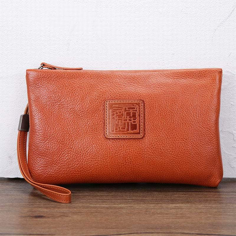Genuine Leather Men Wallets Zipper Money Clip Male Walet Fashion Male Purses Long Phone Wallet Man's Clutch Bags YP0047