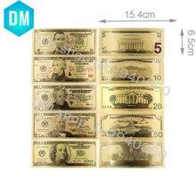 24k 999,9 Американский цветной Золотой набор банкнот креативный 999,9 позолоченный Usd 5 10 20 50 100 поддельные деньги для сбора