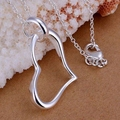 Free Shipping fashion jewelry Necklace pendants Chains, 925 jewelry silver plated necklace Hanging heart fall zqdc wakb