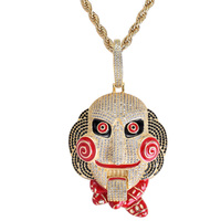 Zlxgirl statement Red Enamel Mask doll pendant jewelry metal stainless steel chain cubic zircon men's hip hop couple accessories