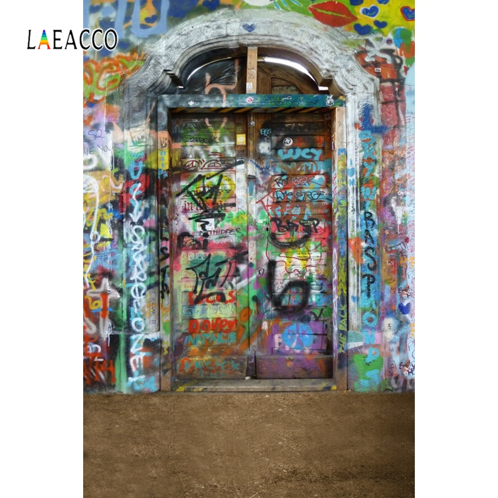 Laeacco Grunge Graffiti Brick Wall Backdrop Portrait Photography Background Customized Photographic Backdrops For Photo Studio image