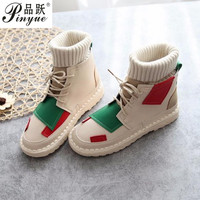 Candy color boots autumn new Korean flat boots wool tube retro literary lacing Booties women's flat shoes