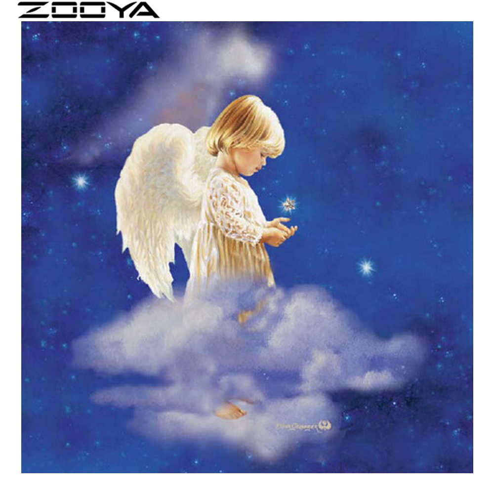 ZOOYA יהלומי רקמה מלאכים עומד על עננים 5d DIY יהלומי ציור רקום עם Rhinestones R729