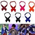 Fashion Women Men Adjustable Cross Bow Tie Solid Color Polyester Wedding Party -Y107