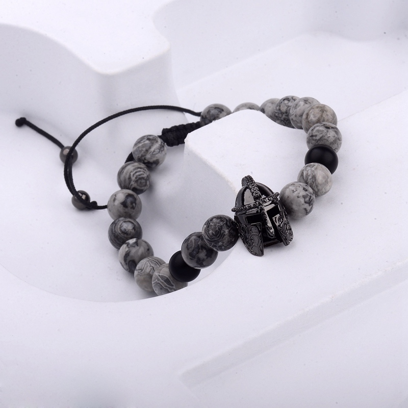 photos officielles bc462 00747 US $2.29 35% OFF|Amader 2018 Soldier Helmet CZ Beads Braiding Macrame Charm  Bracelet Men Natural Gray Stone Beads Bracelets Homme ABL009-in Strand ...