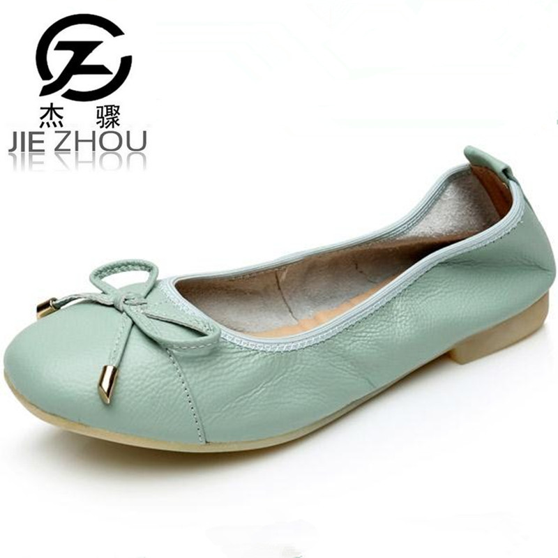 big Size 34 43 Genuine Leather Flats women's shoes anti skid soft bottom Driving shoes egg roll shoes flat ballerina shoe obuv