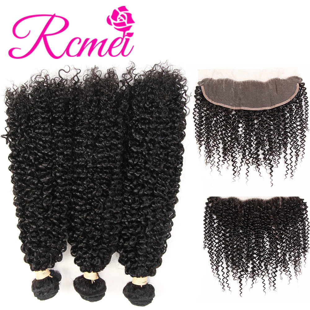Rcmei Human Remy Hair Bundles With frontal Closure 3 Bundles Malaysian Kinky Curly Hair Weave Bundles With Lace Frontal Closure