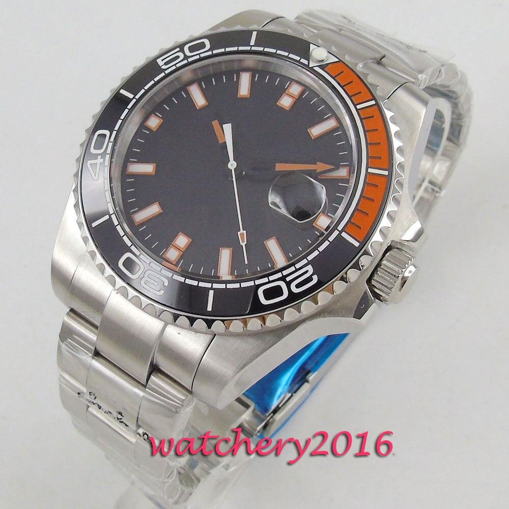 43mm Bliger Sterile Black Dial Sapphire Glass Ceramic Bezel Date Luminous hands Automatic Movement men's Watch
