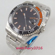 цена 43mm Bliger Sterile Black Dial Sapphire Glass Ceramic Bezel Date Luminous hands Automatic Movement men's Watch онлайн в 2017 году