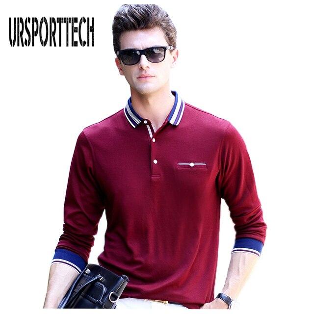 Primavera Outono Camisas Polo dos homens Com Bolso de Manga Longa para homens  Camisa Pólo Camisas ee3af1bd6d1dc