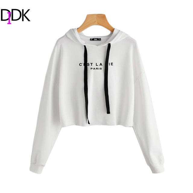 Women's Letter Print Long Sleeve Casual Pullovers Sweatshirt Hoodie