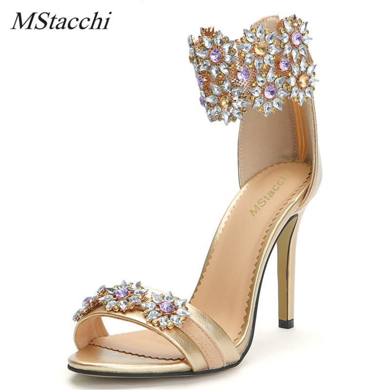 Mstacchi Sweet Gold Ankle Strap Stiletto Heels Women Sandals Summer Peep Toe High Heels Wedding Shoes Bling Crystal Women Pumps