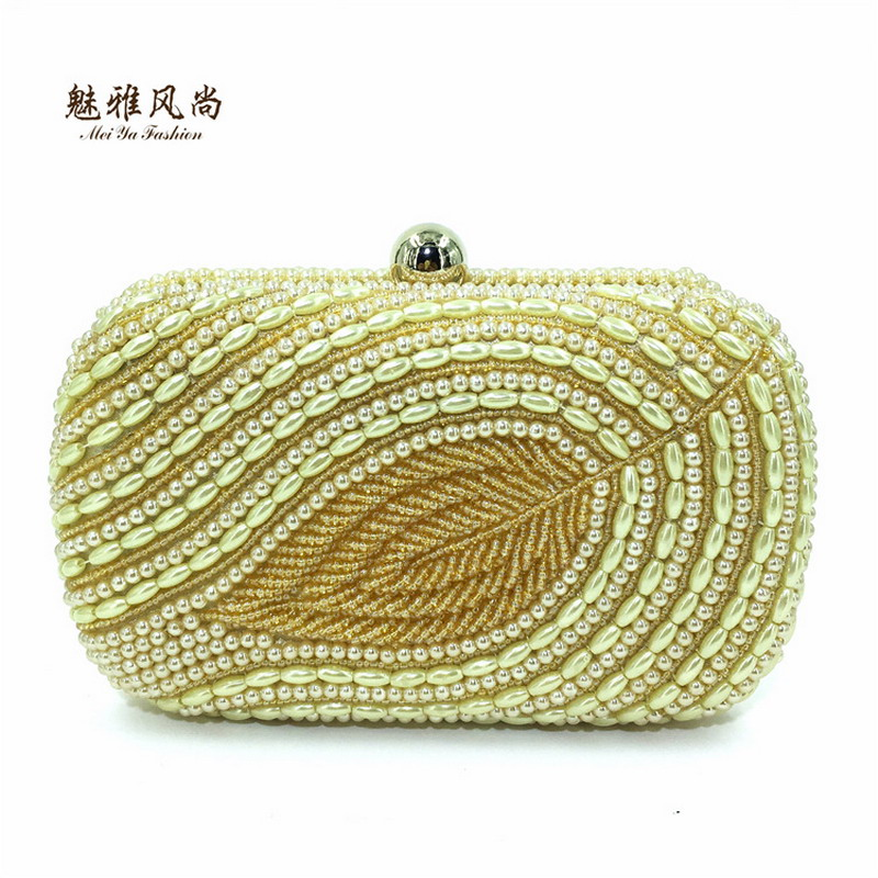 Pearl Leaves Designer Beaded Dinner Banquet Packages Evening Crystal Women Wallet Female Party Handbags Clutches Wedding Bag Box luxury crystal clutch handbag women evening bag wedding party purses banquet