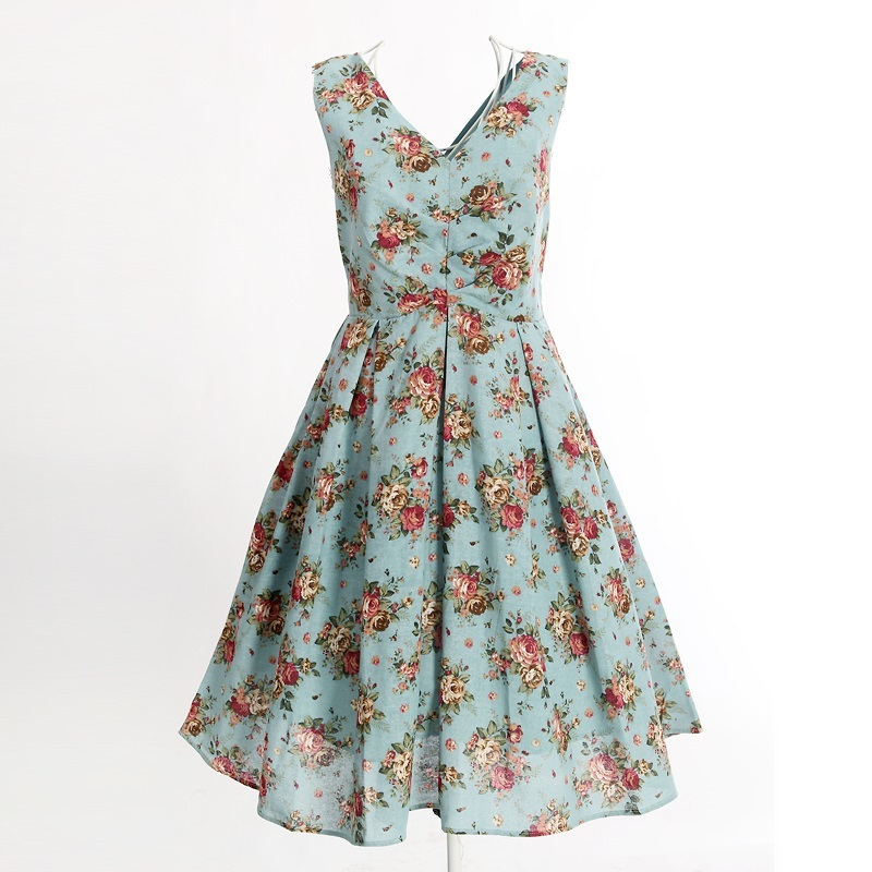 0c8c613ea9 free shipping light blue floral print dress knee length long vintage  inspired clothing sexy club wear