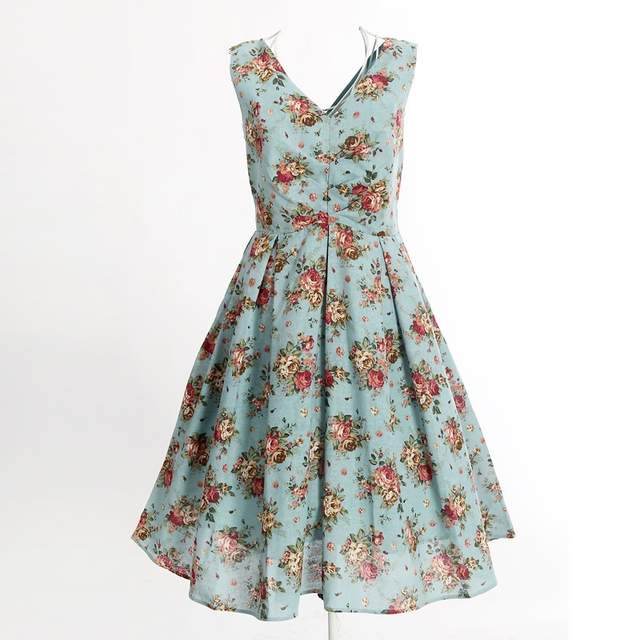 d38579224c31 Online Shop free shipping light blue floral print dress knee length long vintage  inspired clothing sexy club wear new fashion